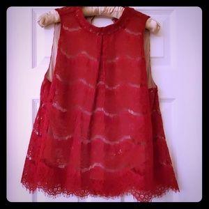 Love Fire LA Ruby red lace top sz L NWT